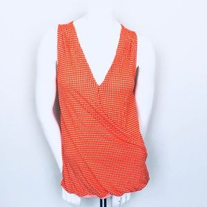 Old Navy Orange & White Faux Wrap Sleeveless Top